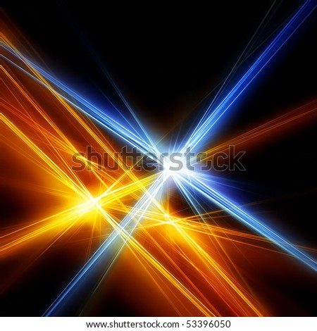 Blue and gold stars. Beautiful fractal - stock photo