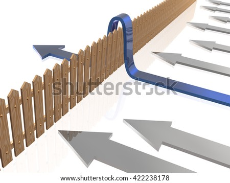 Blue and gray arrows and fence on white reflective background. - stock photo