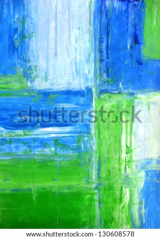 Blue and Green Abstract Art Painting - stock photo