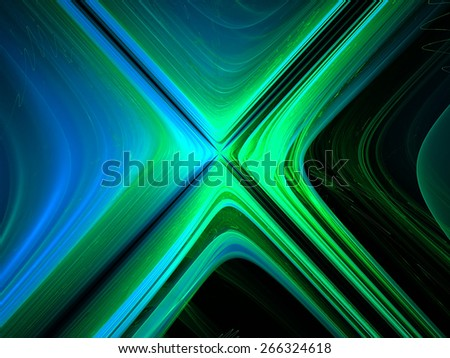 blue and green abstract fantasy fractal lines baclground - stock photo