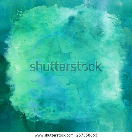 Blue and Green Aqua Teal Turquoise Watercolor Paper Background Texture