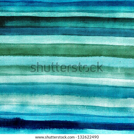 Blue and green brush strokes, striped background - stock photo