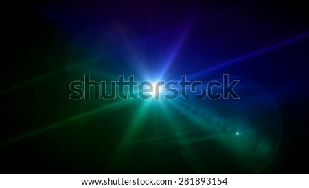 blue and green color lens star flare special effect - stock photo