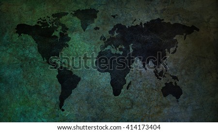 blue and green Map  - stock photo