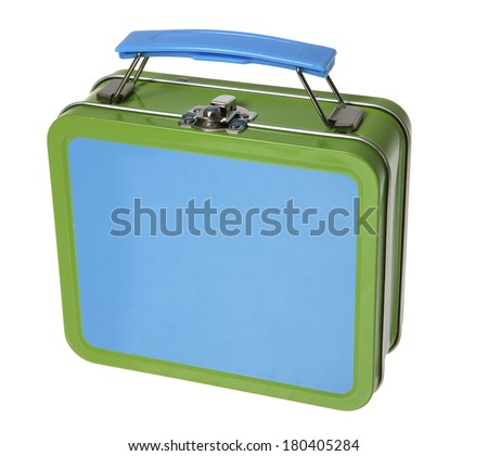 Blue and green metal tin lunchbox on white  - stock photo