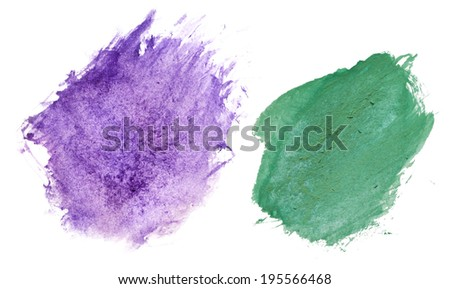 blue and green paint blots smeared randomly on a white background.  - stock photo