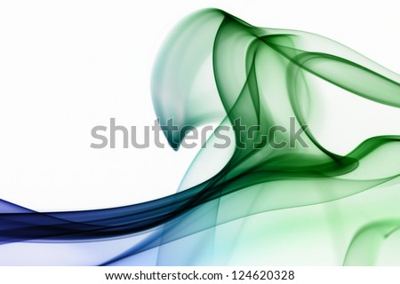 Blue and green smoke in white background - stock photo