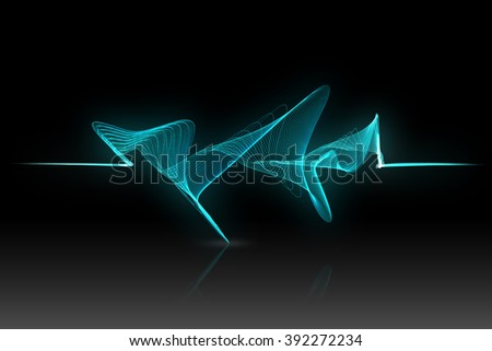 blue and green sound wave on black background - stock photo