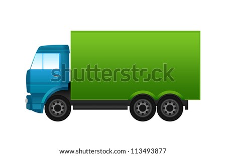 Blue and green truck