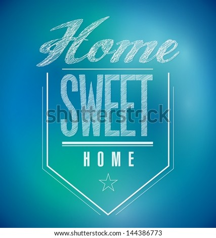 blue and green Vintage Home Sweet Home Sign poster illustration
