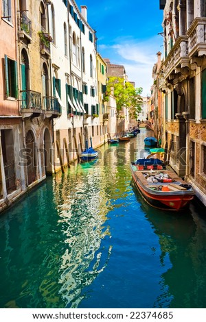 blue and green water of a venetian canal, Italy
