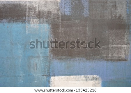 Blue and Grey Abstract Art Painting - stock photo