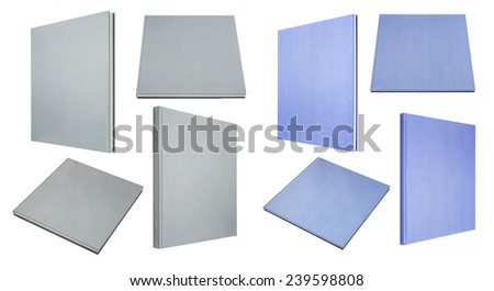 Blue and grey book in four different angles isolated on white - stock photo