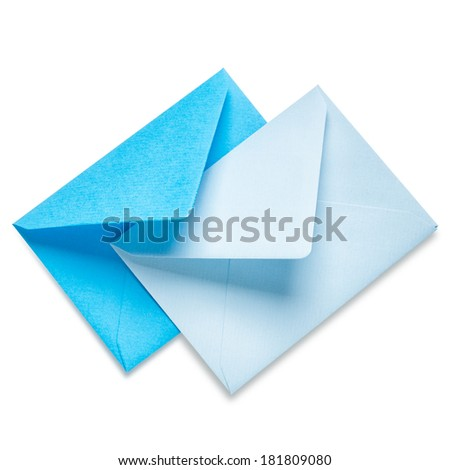 Blue and light blue envelopes on white background, clipping path included