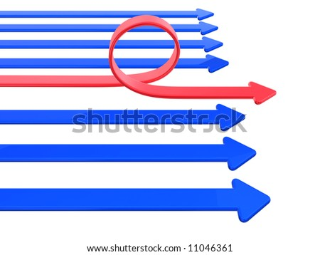 blue and one red bend arrow
