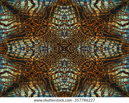 Blue and orange kaleidoscope tiger fur pattern