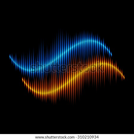 Blue and orange stereo sound or music waveform - stock photo