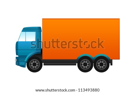 Blue and orange truck
