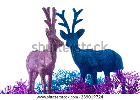 blue and pink Christmas deer Isolated On White background - stock photo