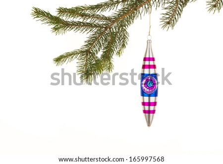 Blue and Pink Christmas Ornament - stock photo