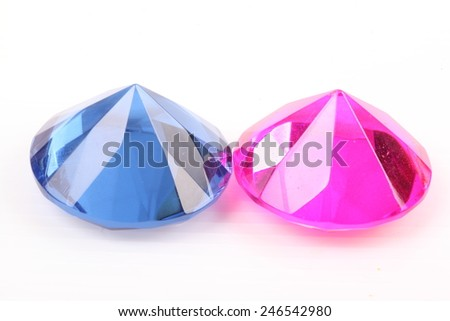 Blue and pink diamond on a white background - stock photo