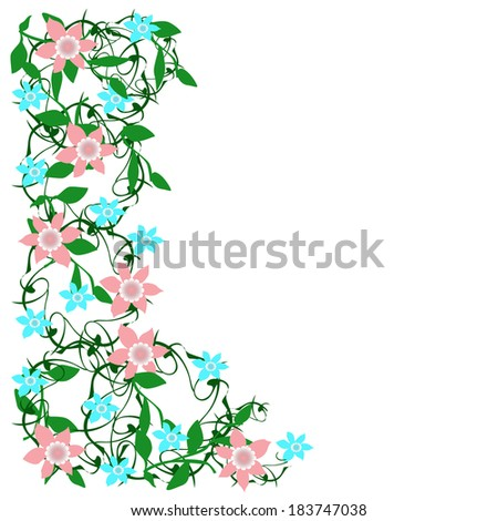 blue and pink flower border on a white background illustration - stock photo