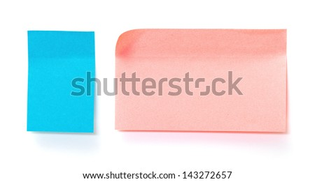 Blue and pink paper sticky stickers, on white background