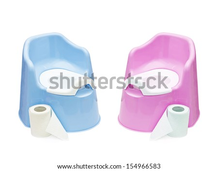 blue and pink pots and toilet paper, on white background.