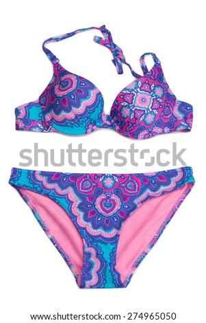 Blue and pink swimsuit fashion. Isolate not white. - stock photo