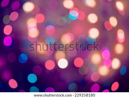 Blue and purple holiday bokeh. Abstract Christmas background, christmas lights background - stock photo