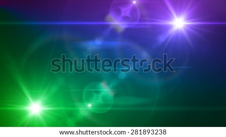blue and purple light twin lens flare special effect - stock photo
