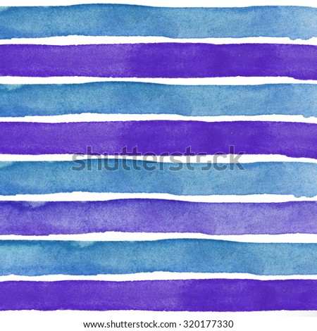 Blue and purple Watercolor hand painted brush strokes, striped background - stock photo