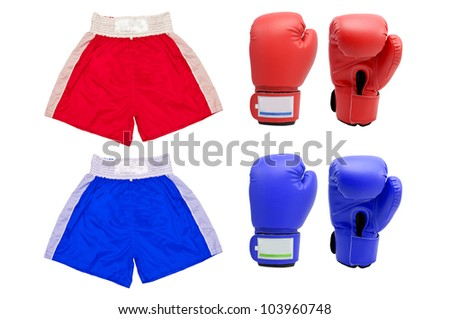 Blue and Red Boxing gloves with white blackground - stock photo