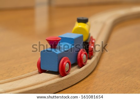 blue and red childs toy train - stock photo