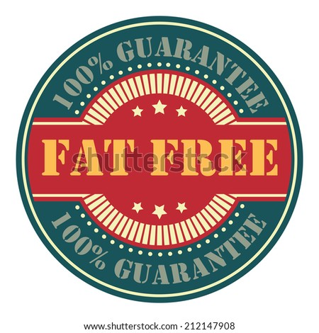 Blue and Red Circle Vintage Fat Free Icon, Badge, Sticker or Label Isolated on White Background