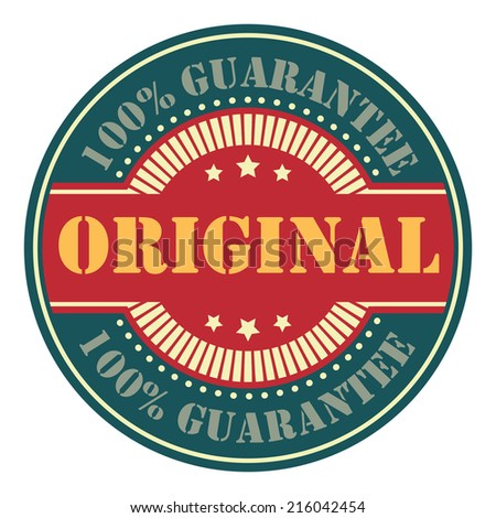 Blue and Red Circle Vintage Original 100% Guarantee Icon, Badge, Sticker or Label Isolated on White Background
