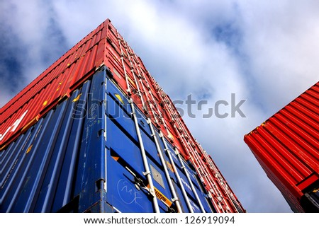 Blue and red container viewed from below - stock photo