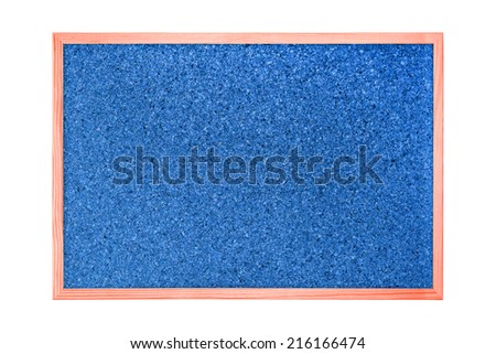 Blue and red cork board isolated on white background - stock photo
