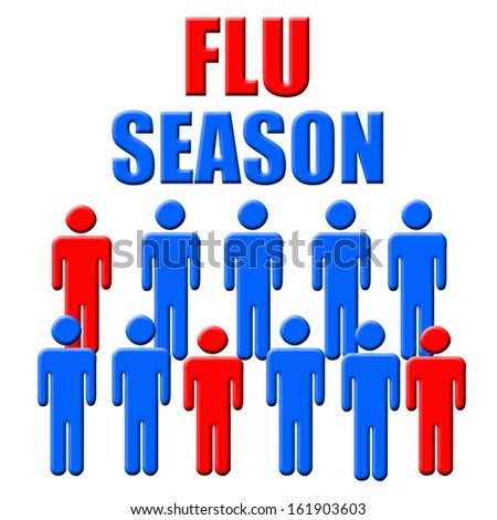 blue and red figures flu season poster illustration