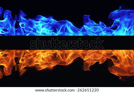 Blue and red fire on black background