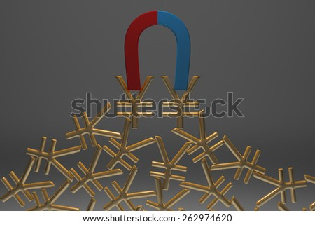 Blue and red glossy horseshoe or U shape magnet attracting many golden yuan signs hanging against gray background - stock photo