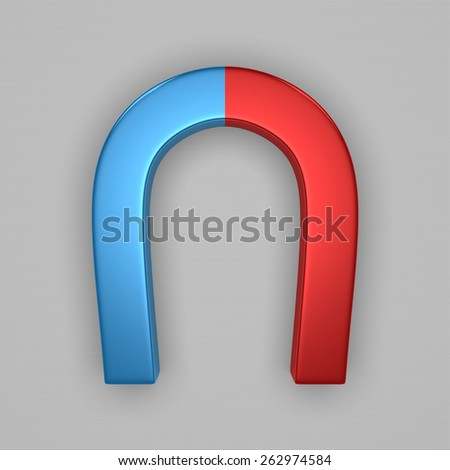 Blue and red glossy horseshoe or U shape magnet on gray background - stock photo