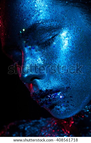 Blue and red light beauty photo. - stock photo