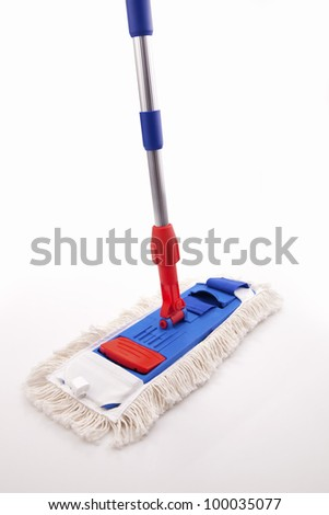 Blue and Red Mop isolated on white