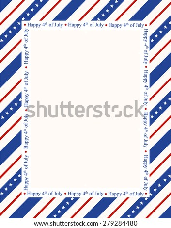 Blue and red patriotic stars and stripes page  border / frame design with happy 4th of july text