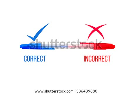 Blue and Red pen, two in one for correct and incorrect concept isolate on white - stock photo
