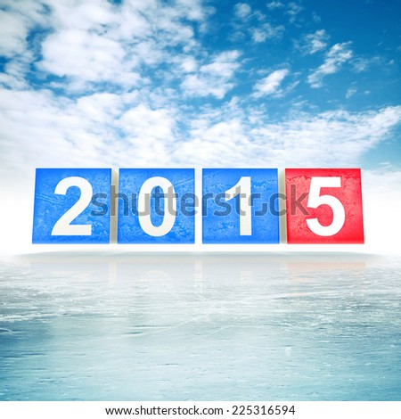 Blue and red shining squares with new 2015 year numbers on frosty cold winter background