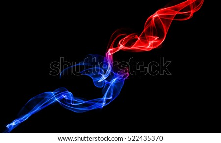 Blue and red smoke across background