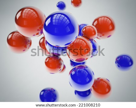 blue and red spheres - stock photo