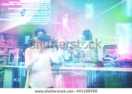 Blue and red technology interface against female graphic designer using the virtual reality headset - stock photo